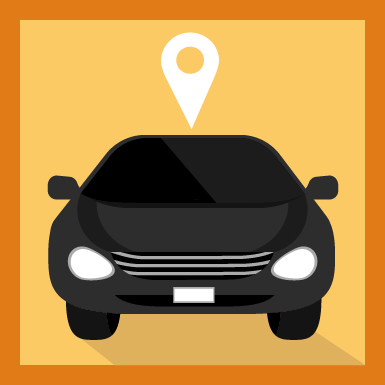 Black Car with Location Pin Icon